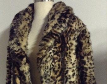 Vintage Fur Coat Leopard Print Animal Print Faux Fur Coat Women's Coat Brown & Beige Leopard Print Full Length Coat No. 17
