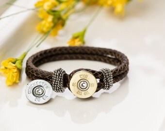 Shotgun Bullet Casing Jewelry - Leather Bullet Bracelet with Interchangeable Nickel/Brass (20 Gauge)