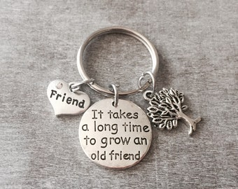 It takes a long time to grow an old friend, Friendship, Friend, Best Friend, Friendship Gift, Old Friend, Silver Keychain, Silver Keyring