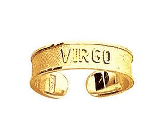 14k Yellow Gold Adjustable Virgo Zodiac Sign Toe Ring