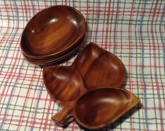 Set of 4 Monkey Wood Pieces - Leaf Shaped Serving Tray and 3 Pod Shaped Bowls or Dishes - Salad Serving Set, Nuts & Toppings Dish - Bohemian