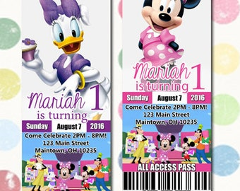 Minnie Mouse Daisy Duck Birthday Party Invitation Ticket Style