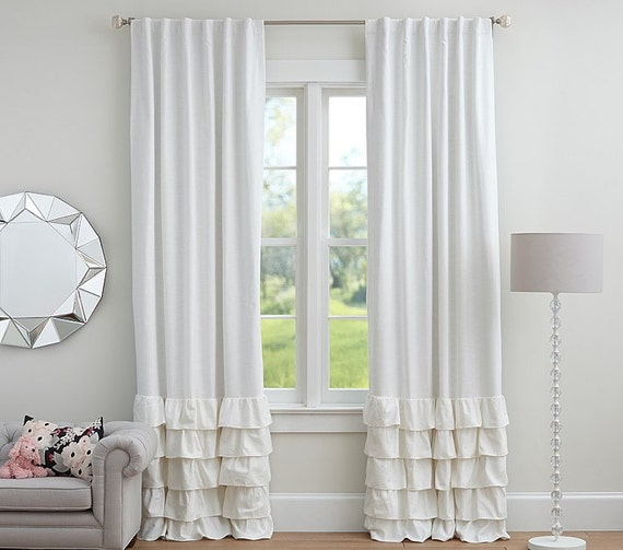 Pair ruffles bottom panels curtains 52 choose by thenewhome1