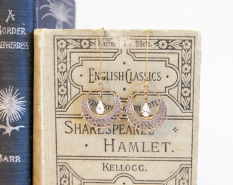 Swarovski Crystal Clear Teardrop and Oxidized Brass Filigree Hoop Dangle Earrings - Handmade Vintage Style