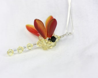Yellow and Orange Dragonfly necklace, Woven Swarovski Crystal Jonquil Dragonfly Pendant, handmade necklace, Handmade jewelry