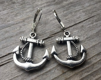 Tibetan Silver Anchor Earrings With Lever Backs