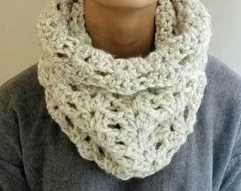 Chunky Knit Lace Cowl. Neckwarmer, Snood, circle scarf Shawl