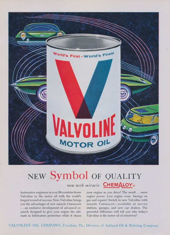 1962 Valvoline Motor Oil Ad Futuristic Cars Atomic Space Age