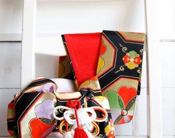 Shichigosan Obi Vintage Japanese Sash,Kimono Accessory, 7 year old obi, Japanese Art Silk Brocade Obi, Japanese Wall Display, Gifts Under 50