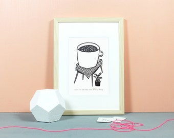 A Giant Cup of Cosmos | Linocut, lino, blockprint, print, art, relief print, original, coffee, coffeelover, universe, daydreamer, black, A5