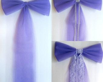 Purple Tulle Pew Bow, Church Aisle Decor, Wedding Pew Bow, Bridal Shower Decor,Tulle Pew Bow,Church Pew Decor,Tulle Wedding Decor,Chair Bows