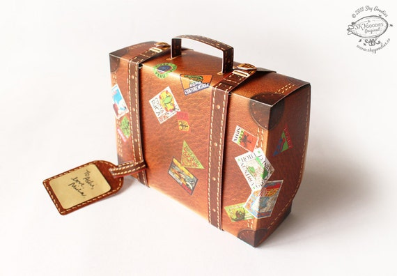 fit Gift Box: Travel Suitcase Brown design Pre-cut, Pre-creased, No ...