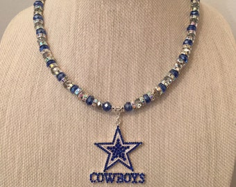 Dallas Cowboys Beaded Rhinestone Necklace