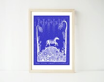 Horse A4 Print, Horses, Nature, Desert, Texas, American Landscape, Mexican Pattern, Stars, Twilight, Magic, Wall Decor