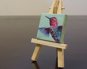 Hummingbird Oil Painting, Miniature Art with Easel