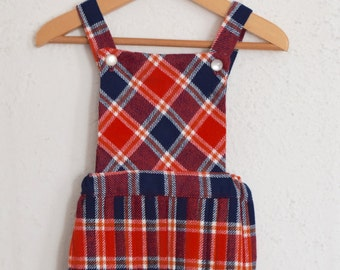 Loch Maree - 1970's Tartan Pinafore Dress - 2 to 3 Years