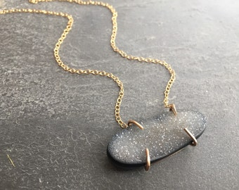 Druzy Crystal Claw Set Gold Necklace - You Choose