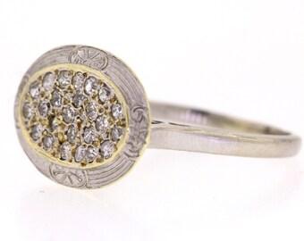 SALE - Antique Edwardian Engagement Ring, White Gold Vintage Diamond Cluster Ring
