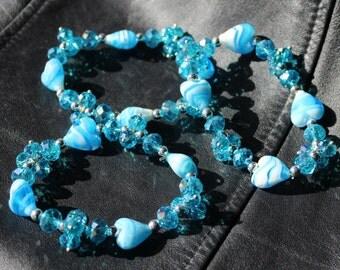 Aqua Blue, Crystal and Heart Lampwork Glass Beads, Stretch Bracelet