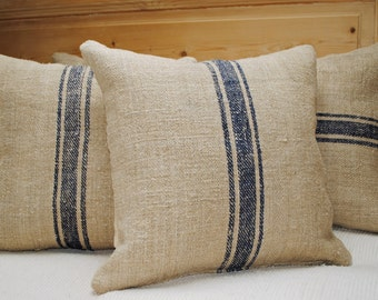 Authentic Grain Sack Pillow Cover / Antique linen / Navy Blue Stripes / Handwoven hemp fabric /Handmade Grainsack Pillow Sham - 3S