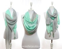 Mint Grey Tassel Woman Scarf So Soft Lightweight Spring Summer Accessory Cotton Scarf Women Fashion Accessories Gift Ideas For Her For Mom