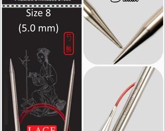US 8 (5.0mm) Chiaogoo Red Lace Circulars - Choice of Length