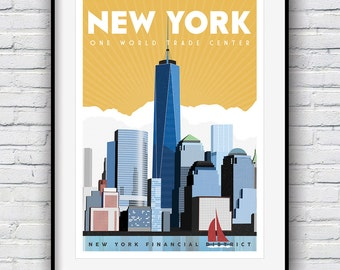 New York Print,  Travel Poster, New York Gifts, World Trade Center, City Prints, New York City, Retro Poster, New York Poster, Prints