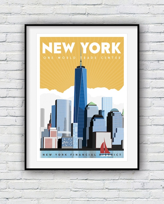 new york print travel poster new york gifts world trade. Black Bedroom Furniture Sets. Home Design Ideas