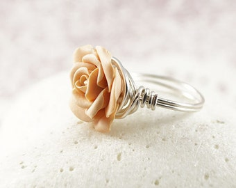 Pale Peach Wire Wrapped Rose Ring, Sterling Silver, Swedish Jewelry, Polymer Clay Rose, Unique Jewelry