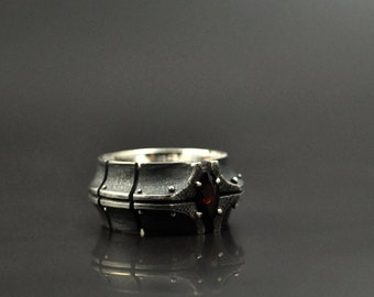 "Silver Industrial Steampunk Garnet Ring  ""Dedonium"" 
