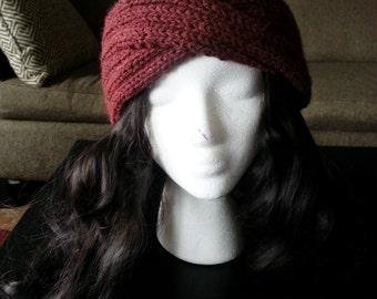 Hand Knit Ribbed Turban Headband Earwarmer
