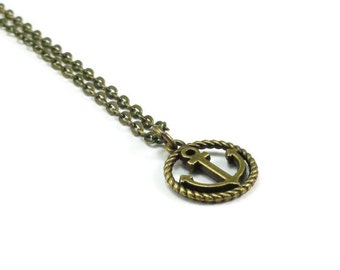 Anchor Necklace Bronze Brass Chain Nautical Style