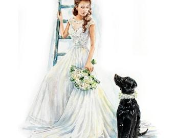 Custom Wedding Dress Portrait/Bridal Portrait/Wedding dress painting/Wedding Gown / Anniversary gift /Pet portrait