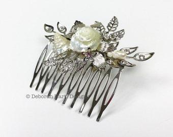 Elegant beach wedding hair jewelry - Silver bridal hair comb seashells pearls crystals classy Beach bride hair slide hairpiece