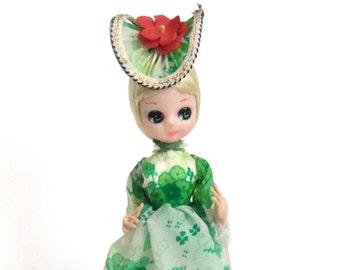 Vintage Pose Doll, Big Eyed Doll, Southern Belle Pose Doll