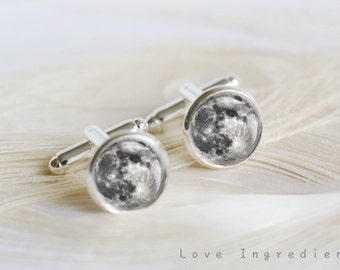 Full moon cufflinks silver cufflinks personalized cufflinks custom cufflinks wedding cufflinks groom cufflinks father cufflinks CL001