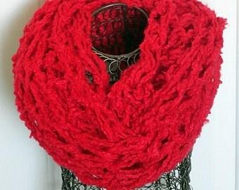 Knit Infinity Scarf, Knit Infinity, Scarf, Red Chunky Arm Knit Infinity Scarf, Arm Knitted Eternity Scarf, Fuzzy Scarf