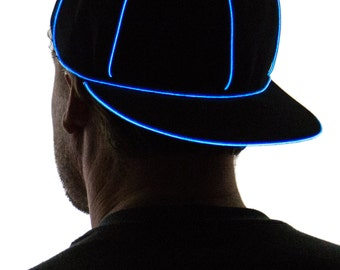 Light Up Snapback Hat, Black, Glow in the Dark, Tron, Rave Wear, LED