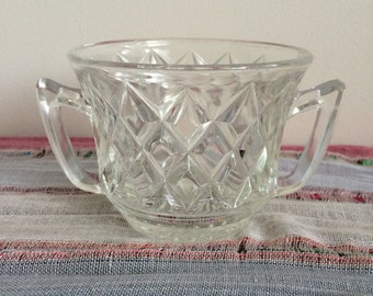 Vintage Glass Cup With Two Handles -- Two Handled Glass Cup -- Vintage Glass Kitchenware