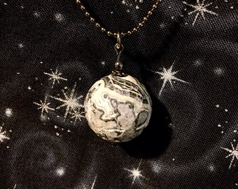 Black, Grey and White Planet  Stone Sphere Pendant Necklace (Faceted Black Lace Agate)