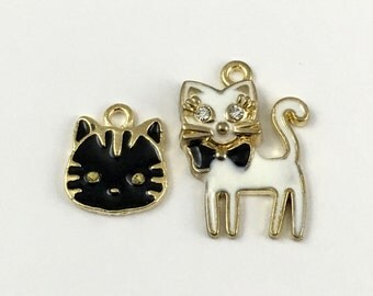 2 cat gold and enamel charms, 28mm # ch 524