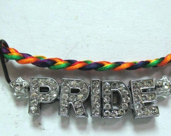 OOAK Hand Made Gay CZ Pride Rainbow Braided Satin 20 Inch Necklace 07