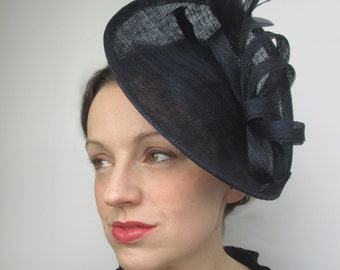 Navy Hatinator - Navy Wedding Hat, Saucer Hat, Disc Fascinator, Races Hat, Ascot Hat, Derby Hat, Ladies Hat, Womens Hat, Millinery