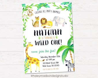 Jungle Safari Invitation, Wild One, Party Animals Birthday Party Invitation DIGITAL FILE