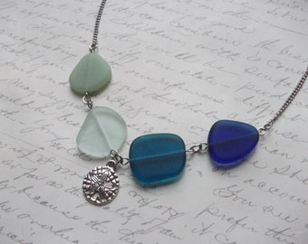 Ombre blue green seaglass necklace