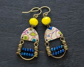 Colorful Ladder Earrings with Cobalt Blue and Yellow Beads, Ladder Jewelry, Colorful Ethnic Jewelry, Unique Bohemian Earrings.