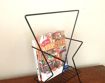 Atomic Metal Magazine Rack with Handle