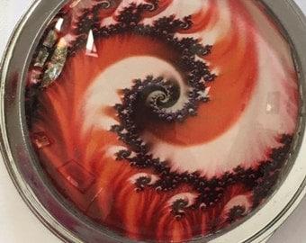 Red Swirls Designer Compact Mirror