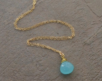 Aqua Chalcedony Briolette and Gold Necklace - Bridesmaids Necklace