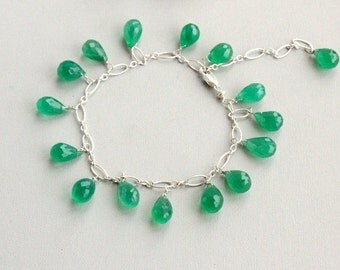 Chrysoprase bracelet ,  sterling silver 925  ,Handcrafted Bracelet